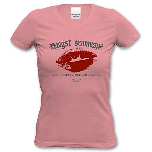 Soreso Damen T-Shirt Mogst schmusn kurzarm Rundhals Farbe: rosa Rosa
