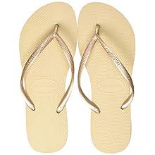 Havaianas Women's Slim Flip Flops, Gold (Sandgrey/Lightgolden 2719), 2/3 UK