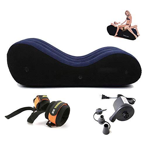 Aufblasbares Sofa- Sex-Bettsofa mit Pump-Handschellen & Beinmanschetten Yoga Chaise Lounge Relax-Sessel Chaise Lounge Air Sofa Tragbare aufblasbare Sexmöbel-Liege für Paare -