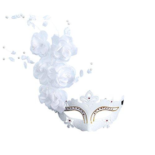 LUOEM Maske Maskenball Venedig große Blume Damen (weiß)