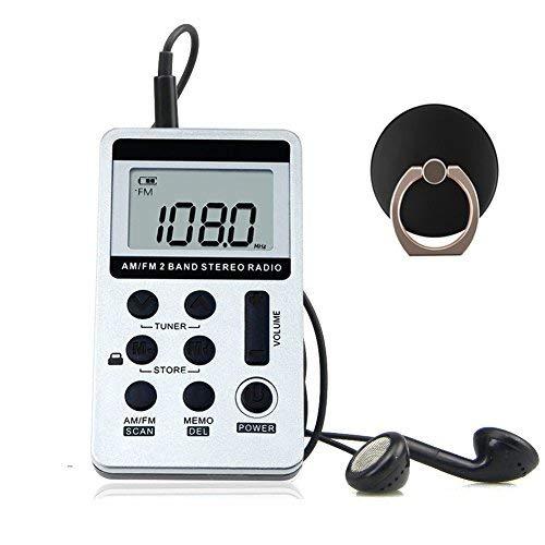 Tragbare Radio,AM FM Radio Receiver DSP mit Handy Ring Halterung und Kopfhörer, Wiederaufladbare Batterie für im Freien und Haus (Silber) Am/fm Radio Kopfhörer