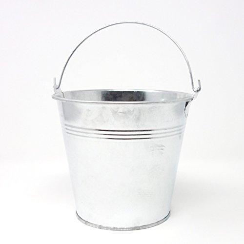 Verzinkter Blech Metalleimer mit Henkel, Dekoeimer. D oben außen 15cm, H 13cm. 1 Stück