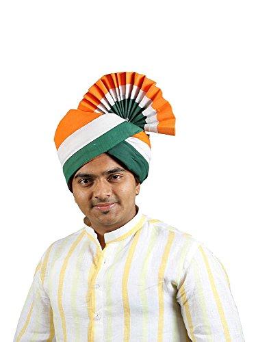 eKolhapuri Traditional Handstitched Ready To Wear Indian Tricolor Cotton Pheta (Turban Safa) for Men