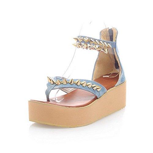 AllhqFashion Damen Denim Eingelegt Reißverschluss Mittler Absatz Zehentrenner Sandalen Blau