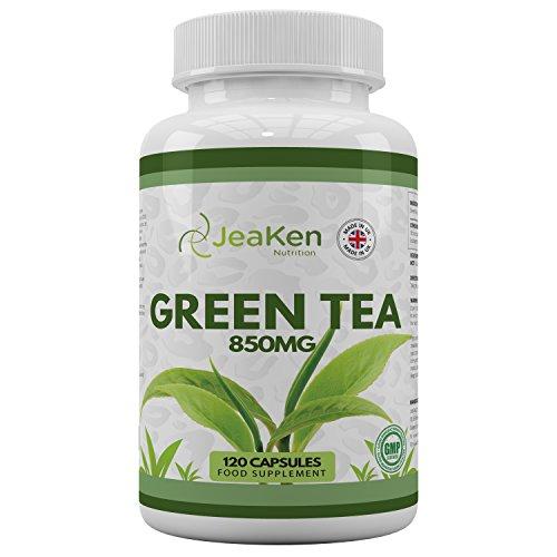 CÁPSULAS de TÉ VERDE por JeaKen - Cápsulas de té verde de alta resistencia 850 mg x 120 cápsulas - Extracto de té verde de primera calidad - Hecho en el Reino Unido al Código de práctica GMP