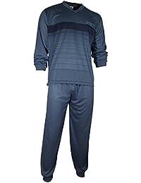 Herren Schlafanzug Pyjama Zweiteiler lang 2-tlg mit V-Ausschnitt in 6 Farben - Qualität von Lavazio®