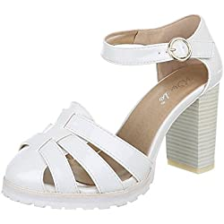 Damen Schuhe, 1905-5, PUMPS, HIGH HEELS RIEMCHEN, Synthetik in hochwertiger Lacklederoptik , Weiß, Gr 41