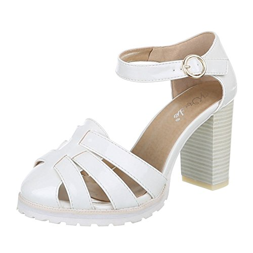 Damen Schuhe, 1905-5, PUMPS, HIGH HEELS RIEMCHEN, Synthetik in hochwertiger Lacklederoptik , Weiß, Gr 40 (Keds Schuh Karierte)