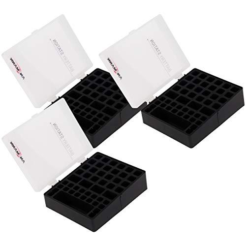 ANSMANN Batteriebox für AAA Micro, AA Mignon & 9V Block Akkus und Batterien - Praktische Akkubox zum Schutz & Transport für 48 Accus - Batterie Box & Akku Box zur Aufbewahrung - 3 Stück, schwarz - Batterien Aaa 48