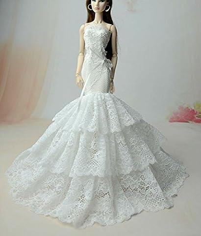 BU-02 Schöne und modische handgefertigte elegante schöne Hochzeit Abend-Partei-Kleid für Barbie Puppe(Puppen nicht im Lieferumfang enthalten) ( 4)