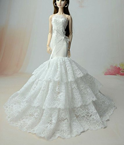 Vintage Puppe Barbie Kostüm (BU-02 Schöne und modische handgefertigte elegante schöne Hochzeit Abend-Partei-Kleid für Barbie Puppe(Puppen nicht im Lieferumfang enthalten) ()