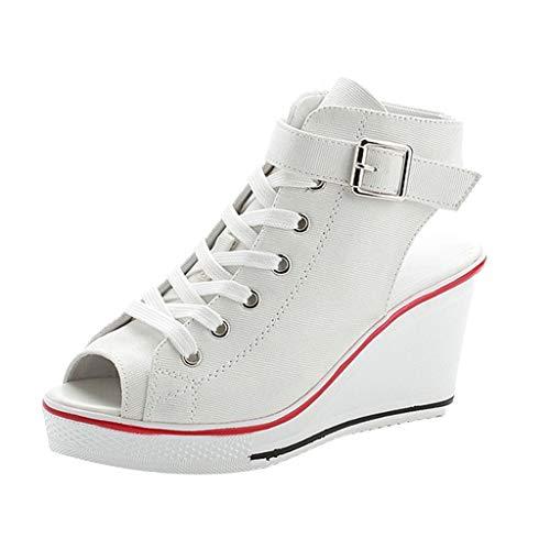 Frauen Leinwand Hochhackige Sandale, Vintage Lace-Up Peep Toe Solid Color Heeled Wedges Casual Plus Size Schuhe Zip Sandalen Stiefeletten Plattform für Damen - Vintage Nike Schuhe Frauen