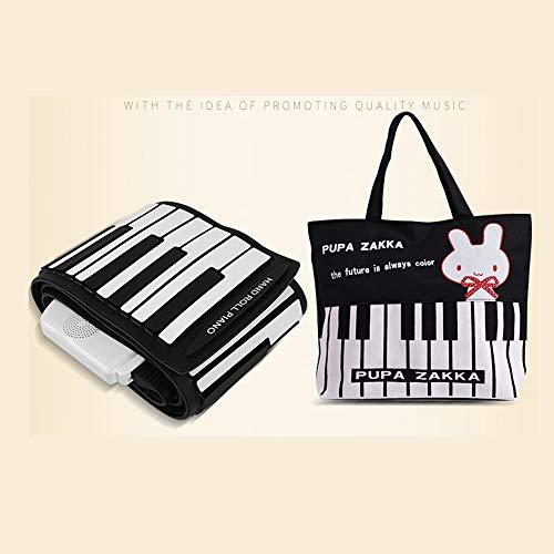 SEXTT Elektronisches Klavier, tragbarer Knopflautsprecher 88 Schlüsselhandrolle, die elektronische weiche Tastatur klappt, Rollen Klavierstützhandy, Notizbuch, Tablettenverbindung auf