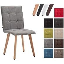 CLP Silla MILLER con tapizado de tela. Perfecta para el comedor o la sala de espera. Soporte de madera de Haya. gris, color del soporte: madera natural