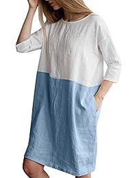 Faldas Cortas Mujer Verano, Zolimx Mujeres Casual Patchwork Medio Mangas de Lino de
