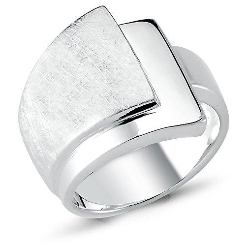 Vinani Ring Schichten Design 3 Ebenen gebürstet glänzend massiv breit Sterling Silber 925 Größe 60 (19.1) 2RSC60 - 3-ring Aus Größe Silber Sterling