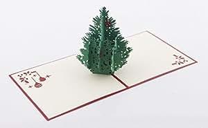 Biglietto d'auguri 3D Kirigami per compleanno, anniversario, inviti (Albero di Natale)