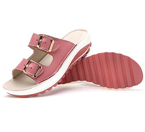 Moderne Sommer Damen Dicke Sohle Anti Rutsch Riemenschnalle Bonbonfarbe Offene Zehen Slip On Weiche Sohle Gummi Anti Rutsch Strandschuhe Sandalen Pink