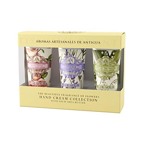 Product DescriptionIntroducing our new collection of Aromas Artesanales de Antigua (AAA) mini hand cream. This gift set contains 3 adorable hand creams in Rose Petal, Lavender and Lily of the Valley scents.This elegantly packaged gift is affordable i...