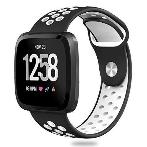squarex Large Silikon Sport Ersatz Uhrenarmband Handschlaufe für Fitbit Versa Lite Nike zweifarbiges Silikonband (Weiß)