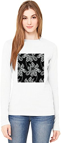 Flowers Print Damen Langarm T-Shirt Long-Sleeve T-shirt For Women| 100% Premium Cotton| DTG Printing| Medium