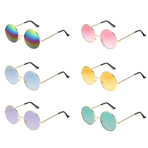 6 Paar runde Hippie-Sonnenbrillen im 60's Style mit kreisrunden Gläsern 6 Hd-component