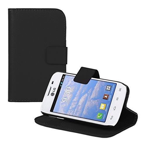 kwmobile Wallet Case Hülle für LG L40 - Cover Flip Tasche mit Kartenfach und Ständerfunktion in Schwarz