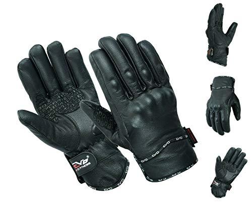 Evo Nuovo in Pelle da Moto Bici Resistente Impermeabile Invernali Termici Carbonio Shell Gloves (Large), Nero, L