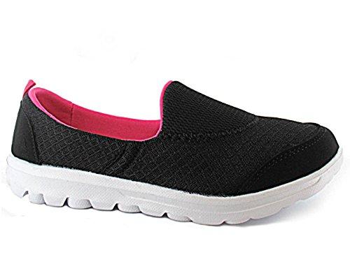 Foster Footwear ,  Damen Plimsoll D Black/ Fuchsia