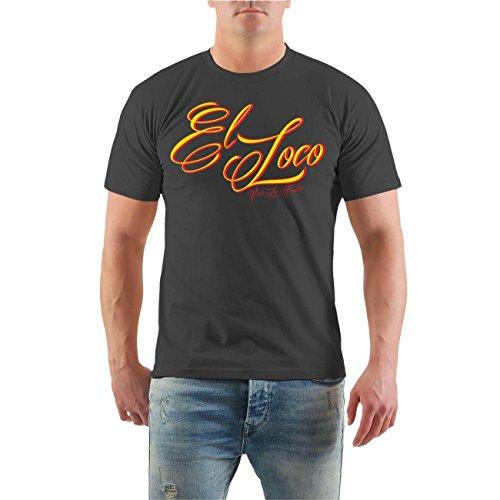 Männer und Herren TShirt El Loco SHOTGUN mit Rückendruck Größe S 8XL  Körperbetont grau