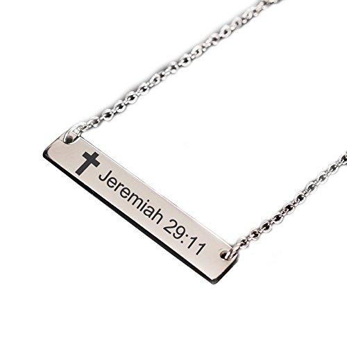 LiFashion LF Edelstahl Horizontal Bar Bibel Vers Jeremiah 29:11 Halskette Christian Cross Lord's Gebet Bar Anhänger Schmuck Silber für Frauen Mädchen zum Jahrestag Taufe Geburtstagsgeschenk (Bibel-verse Für Kinder)