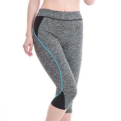 ESAILQ Damen Sport schlanke Kurze Hosen eng Leggings Yogahosen(Medium,Hellblau)