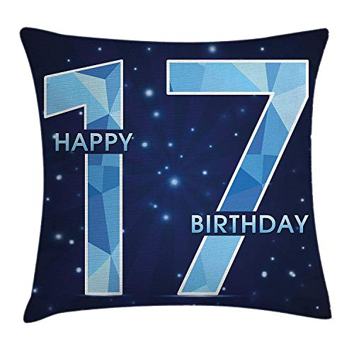 17th Birthday Throw Pillow Cushion Cover, Space Stage Theme Image with Star Like Dots Seventeen Youth Theme, Decorative Square Accent Pillow Case, 18 X 18 inches, Sky Blue and Navy Blue