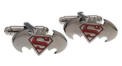 Covink® Batman vs Superman alba dei gemelli Superhero Camicia francese Cuff Button uomo giustizia acciaio metallo