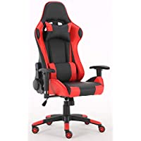 Millhouse Gaming Racing Desk Chair Adjustable Computer Chair Lumbar and Head Pillow Chair (Black-Red)