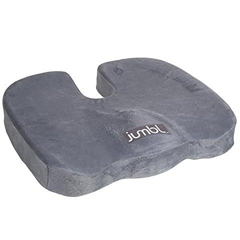 Jumbl orthopédique pour coccyx Coussin de siège en mousse confortable - Soulage les douleurs dorsales en réduisant la pression exercée sur le coccyx, dos, bassin et Coccyx, Utilisation dans la voiture, la maison, le bureau, le fauteuil roulant (Gris)