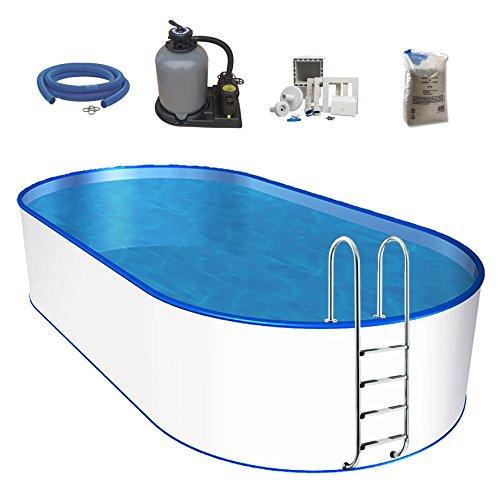 POWERHAUS24 Oval-Pool-Set, Größe & Tiefe wählbar, 0,6mm Stahlwand, 0,6mm Poolfolie, Edelstahl-Tiefbeckenleiter, Sandfilteranlage, Filtersand, Skimmer- und Schlauch-Set-800 x 420 x 150cm
