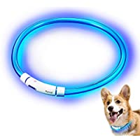 Rymall Hunde Leuchthalsband LED, Hundehalsband Leuchtband Leuchtschlauch Blink Hundehalsband 60cm, Aden per USB, 3 Modell Blink, von Fashion&Cool
