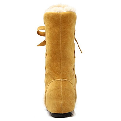 Caldo Moda Donne Doposci Giallo Schuhe Taoffen Tacco Inverno Nascosto UCBH11Tqw