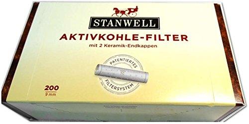 Stanwell Aktivkohle Filter 9 mm-patentiertes System für höchsten Rauchgenuss-200 er Packung, Keramik, grau, M -