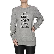 Keep Calm And Love Emos Mujer Sudadera Jersey Pullover Gris Algodón Women's Jumper Sweatshirt Pullover Grey