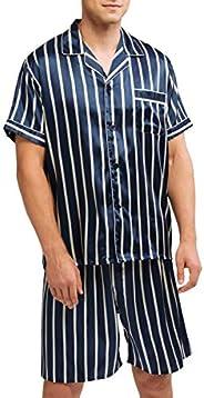Men's Satin Pajamas Short Button-Down Pj Set Sleepwear Lounge