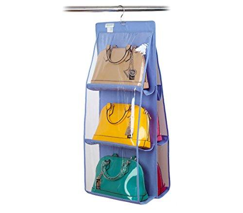 Organizzatore fino a 12 borse con gancio pratico organizer da armadio o porta. MWS (Blu)