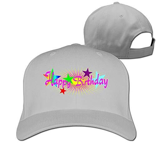 Unisex Happy Birthday Colorful Logo Baseball Hip-hop Cap Vintage Adjustable Hats White