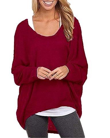 ZANZEA Mode Lâche Femme Shirt en Chauve-souris Manches Irrégulier Jumper Tops Hauts Vin Rouge EU 46-48/Etiquette Taille XL