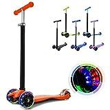 Hikole Kinderscooter Dreirad mit verstellbarem und Abnehmbarer Lenker Tret-Roller LED Räder Blinken für Kinder ab 3 Jahren (Orange)
