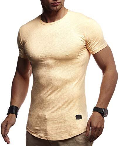 LEIF NELSON Herren Sommer T-Shirt Rundhals Ausschnitt Slim Fit Baumwolle-Anteil   Cooles Basic Männer T-Shirt Crew Neck   Jungen Kurzarmshirt O-Neck Kurzarm Lang   LN8312 Orange XX-Large