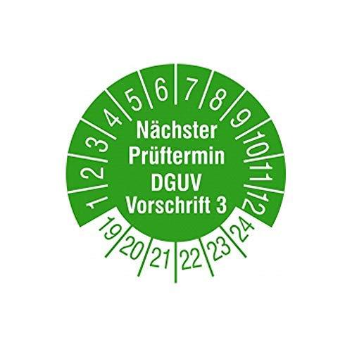 TE-Office 500 Stück DGUV 3 Prüfplaketten Aufkleber 19-24 Nächster Prüftermin DGUV Vorschrift 3 grün Rolle 1-bahnig 30 mm Durchmesser laminiert abriebfest - 3 Stück Office