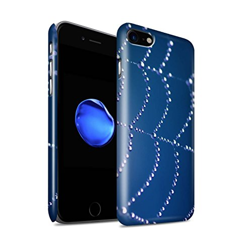 STUFF4 Glanz Snap-On Hülle / Case für Apple iPhone 8 / Blau Muster / Spinnen Netz Perlen Kollektion Blau