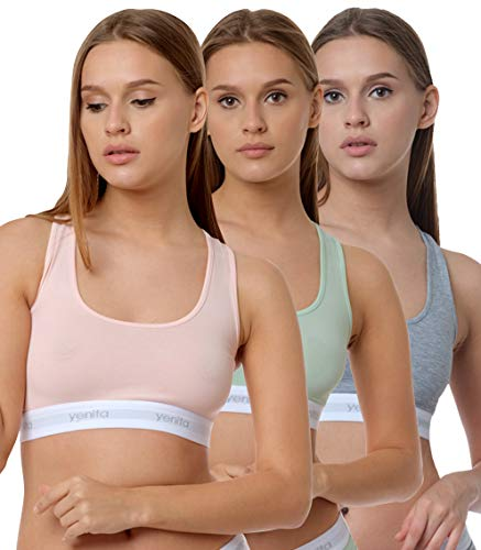 Yenita 3er Set Damen Underwear Modern-Sports-Collection, Bralette, Cotton-Bustier, Gemischt (Pink, Mint, Grau) Gr. M